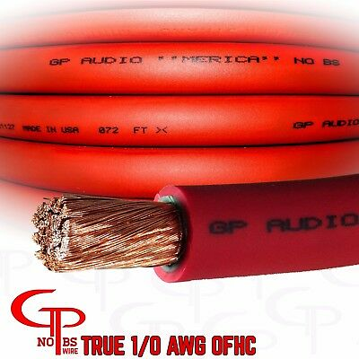 $199.99 • Buy 50 Ft TRUE AWG 1/0 Gauge OFC COPPER RED Battery Power Wire Ground Cable GP Audio