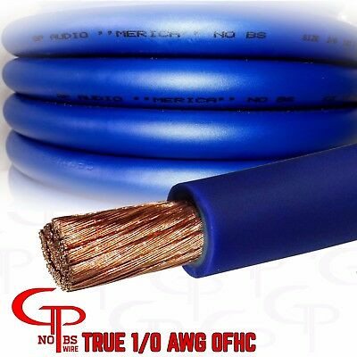AU125.87 • Buy 25 Ft TRUE AWG 1/0 Gauge OFC COPPER Power Wire BLUE Ground Cable GP Car Audio US