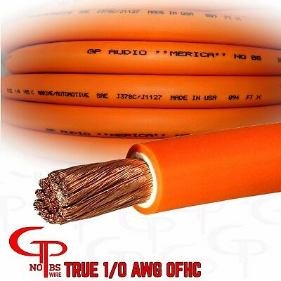 $111.99 • Buy 25 Ft TRUE AWG 1/0 Gauge OFC COPPER Power Wire ORANGE Ground Cable GP Car Audio
