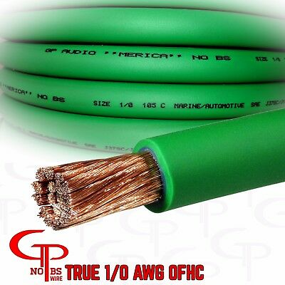 $66.99 • Buy 15 Ft TRUE AWG 1/0 Gauge OFC COPPER Power Wire GREEN Ground Cable GP Car Audio