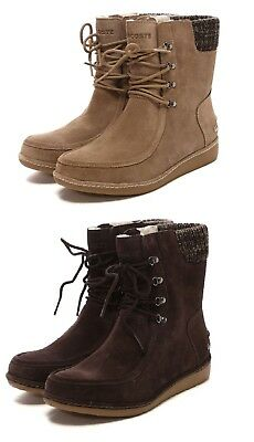 d785497fa NEW Lacoste Women Alyson Suede Winter Boots Lace Up Ankle Black Brown Boots  • 112.46