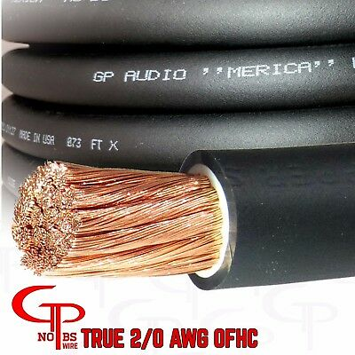 AU96.02 • Buy 15 Ft TRUE AWG 2/0 Gauge OFC COPPER Power Wire BLACK Ground Cable GP Car Audio