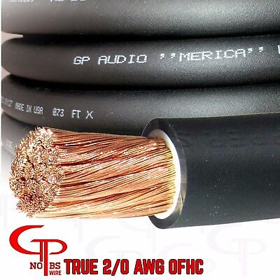 $54.99 • Buy 10 Ft TRUE AWG 2/0 Gauge OFC COPPER Power Wire BLACK Ground Cable GP Car Audio