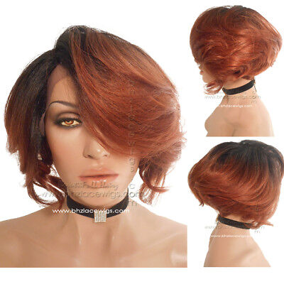 $69.99 • Buy Senorita Short Wig Feathered Wig Short Angle Cut Tapered Stacked Bob Cut Auburn
