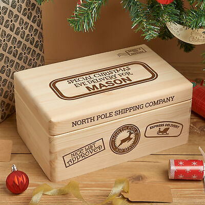 Personalised Engraved Solid Wooden Pine Christmas Eve Xmas Box • 17.99£