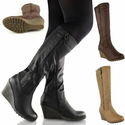 Womens Ladies Wedge Heel Knee High Mid Calf Wide Leg Elastic Winter Biker Boots • 26.99£