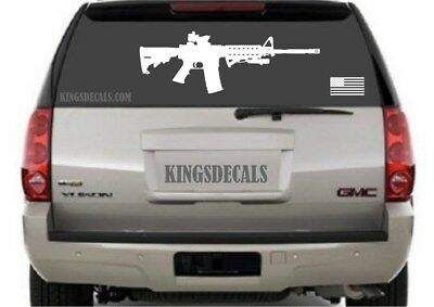 $13.95 • Buy Large Life Size AR15 Decal With Flag Window Decal Full Sticker Wall Art M16 Rear