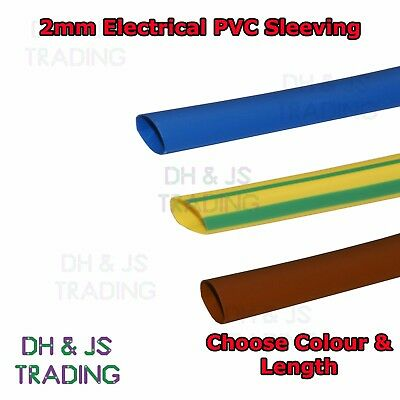 Electrical PVC Sleeving 2mm Earth, Brown, Blue Tubing Wire Cable Tidy Socket • 1.19£