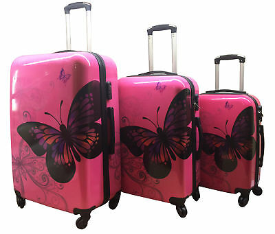 Rose Hard Shell 4Wheel Suitcase PC Luggage Trolley Case Cabin Butterfly 20,24,28 • 25.95£