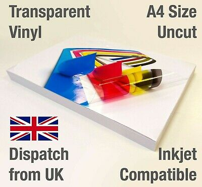 £8.59 • Buy A4 Clear Transparent Adhesive Glossy VINYL INKJET Print Graphics Model Stickers