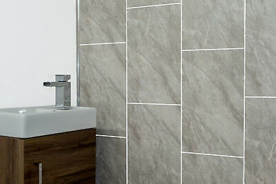 £51.38 • Buy Grey Marble Tile Groove Bathroom Panels Shower Wet Wall Kitchen Cladding PVC