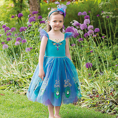 Buy Girls Kids Childs Deluxe Blue Peacock Bird Fairy Party Dress Costume Outfit  • 21.95£