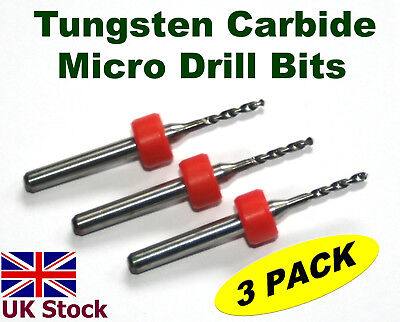 £3.77 • Buy Tungsten Carbide Micro Drill Bits    Pack Of Three   For PCB  Metals Stone  - UK