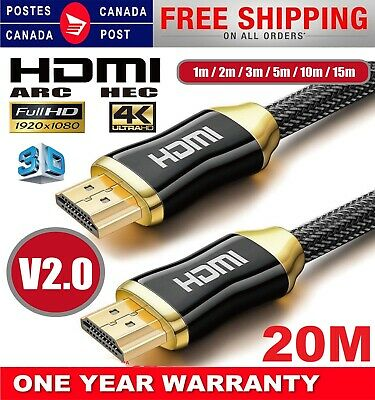 $ CDN11.99 • Buy New HDMI Premium Cable V2.0 Gold Plated High Speed Audio 3D 4K Ultra HD 1m~20m