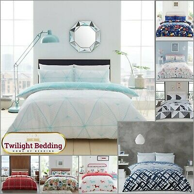 CHECK FLORAL STRIPE King Size Bedding Shape Duvet Cover Pillowcase Animal Print • 11.99£