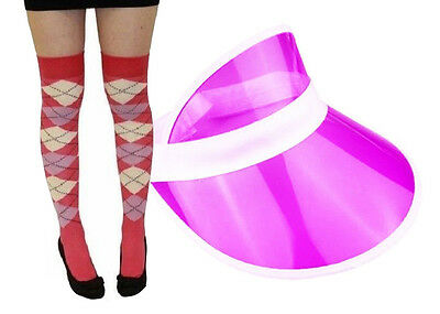 Pub Golf Purple Sun Visor & Pink/Purple Diamond Argyle Socks Fancy Dress Unisex • 5.25£