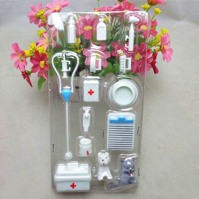 Set Of 14pcs Medical Equipment  Doctor Nurse Tools Toys Barbie Doll Accessories • 2.59£