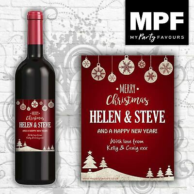 Personalised Christmas Wine Bottle Label - Any Names And Message - Perfect Gift! • 2.95£