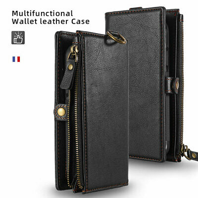 AU37.99 • Buy IPhone 8 7 Plus Soft Leather Removable Zip Wallet Flip Card Slot Case Coin Wall