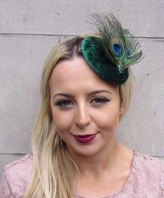 Emerald Green Peacock Feather Pillbox Hat Fascinator Hair Clip Races Velvet 4442 • 14.95£