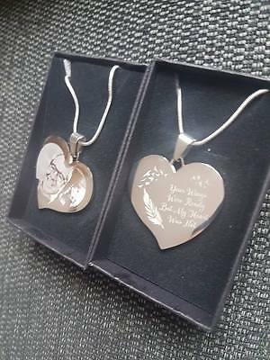 Personalised Photo/Text Engraved Heart Necklace Pendant - Wedding Birthday Gift. • 13.99£