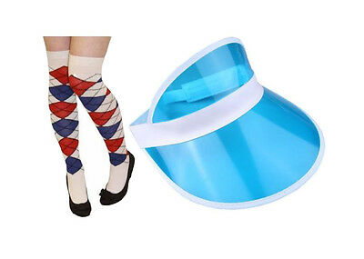Pub Golf Blue Sun Visor & Blue/Red/White Diamond Argyle Socks Fancy Dress Unisex • 5.25£
