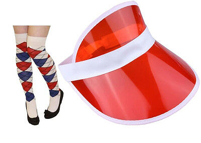 Pub Golf Red Sun Visor & Blue/Red/White Diamond Argyle Socks Fancy Dress Unisex • 5.25£