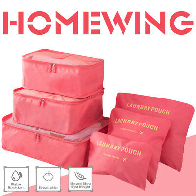 AU10.99 • Buy 6Pcs Packing Cube Travel Pouch Luggage Organiser Clothes Suitcase Storage Bags