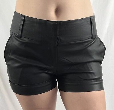 $12.99 • Buy Woman's Faux Leather Black Work Dress Shorts With Smart Relax Fit