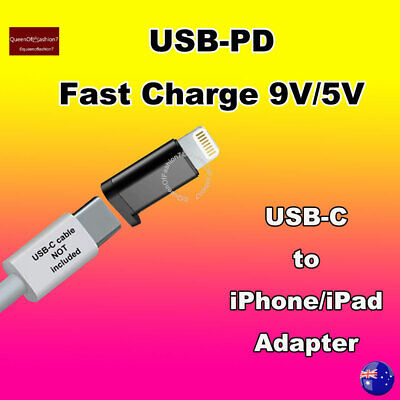 AU6.95 • Buy 1x Black USB-C  To Lightning 8 Pin Metal Cased Adapter For IPhone/iPad