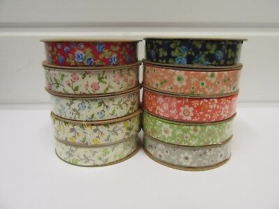 2 Metres Or Full Roll 15mm Cotton Flower Ribbon Floral Flowers 10 Metre UK 15 Mm • 1.95£
