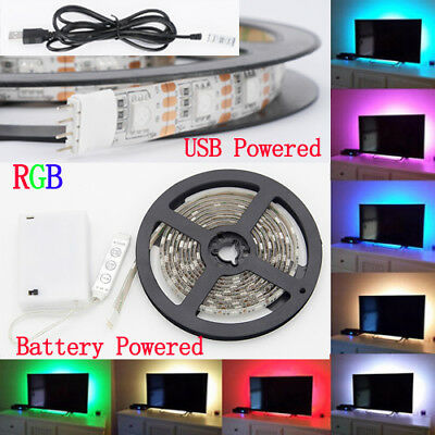 $14.99 • Buy 50-200CM 5050 LED USB Strip Light TV Back RGB Color Change Battery Powered Strip