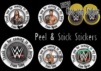 WWE Personalised Stickers Party Bags Birthday Gifts CONES CHOCOLATE COIN LABELS • 1.28£