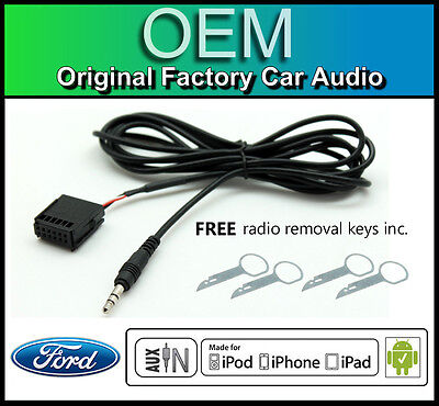 Ford Focus AUX Lead, Ford Sony Car Stereo AUX In Cable IPod IPhone Android • 11.99£