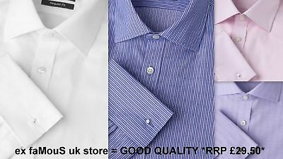 Mens Shirt Regular Fit Non Iron Pure Cotton French Double Cuff Long Sleeve • 12.99£