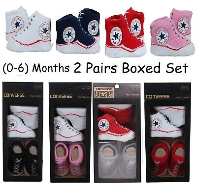 Infant Baby Allstar Converse Booties Slip On Socks 2 Pairs Gift Boxed 0-6 Months • 9.95£