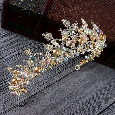 £30.94 • Buy Stunning Gold Crown/tiara With Clear Crystals & Bronze Pearls, Bridal Or Racing