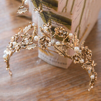 £29.31 • Buy Antique Gold Crown/tiara With White Pearls & Clear Crystals, Bridal Or Racing