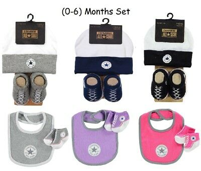 New Converse Hat & Bootie,bib & Bootie Set Beanie Slip On Crib Socks 2 Piece Set • 9.95£
