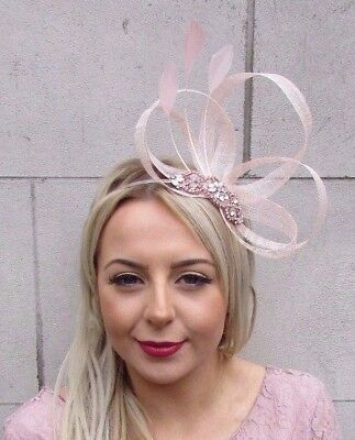 Rose Gold Light Blush Peach Pink Feather Sinamay Fascinator Headband Races 4502 • 19.95£