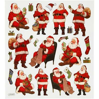 Fancy Self Adhesive Santa Claus Stickers Sheet For Card Christmas Decorations • 1£