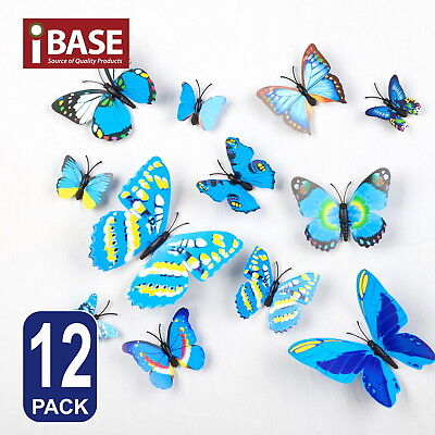 AU4.99 • Buy 3D Butterfly DIY Wall Decal Removable Sticker Wedding Nursery Self-adhesive Blue