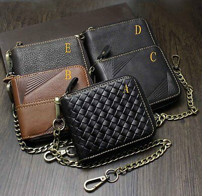 New! Biker Leather Wallet With Chain Mens Gift 5 Style • 21.53£