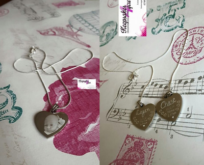 Personalised Photo/Text Engraved Heart Necklace Pendant- Wedding Birthday Gift. • 14.93£