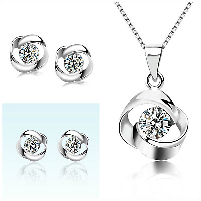 UK Boxed Sterling Silver Jewellery Set Made With Swarovski Crystal • 9.99£
