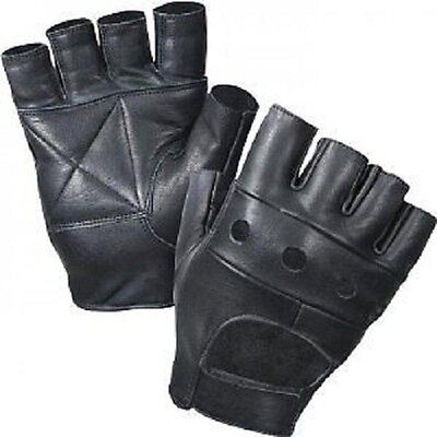 £3.49 • Buy Real Leather Fingerless Gloves Bikers Full Training Cycling Gym Wheel Chair Use