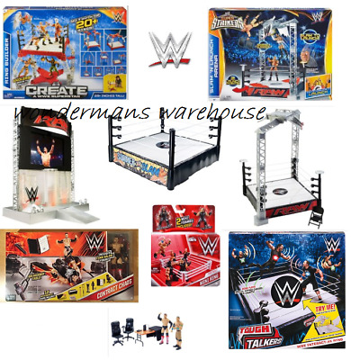 WWE Wrestling Ring/Entrance Playset/Contract Chaos/Tough Talkers Interactive NEW • 89.99£