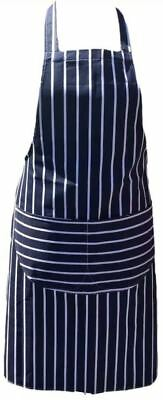 £4.76 • Buy Blue Stripped Apron Front Pocket Chefs Butchers Kitchen Cooking Baking Bib Gift