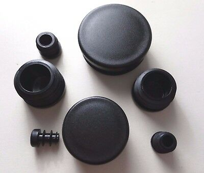 Round Plastic Blanking End Caps  Pipe Tube Inserts Plugs Bungs / Black • 2.38£