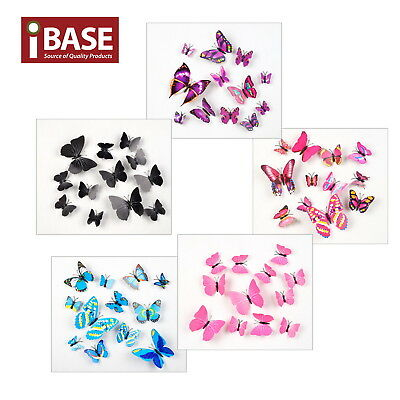 AU4.99 • Buy 12PCS 3D DIY Wall Decal Stickers Butterfly Home Room Art Decor Decorations AU OZ